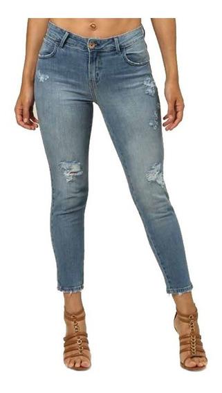 Calça Feminina Jeans Cigarrete Coca-cola Mid Stretch Puídos