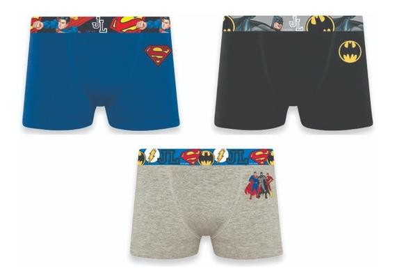 Kit 3 Cuecas Boxer Infantil Kids Super Heróis Selene 12520