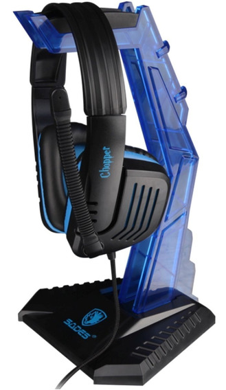 Suporte Para Fone Sades Base Headset Acrílico Azul Wolfbone