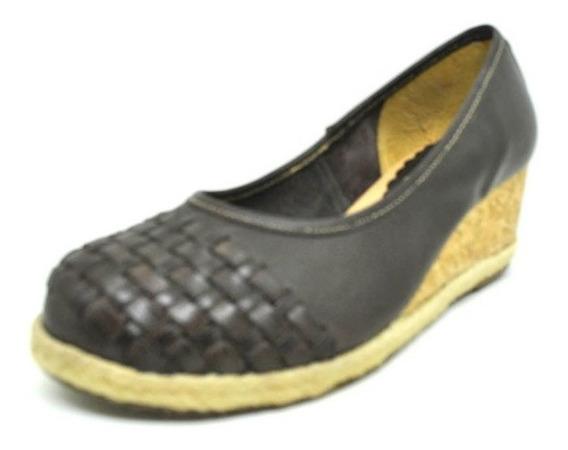 Sapatos Femininos Anabela Salto Couro Marrom Dani K