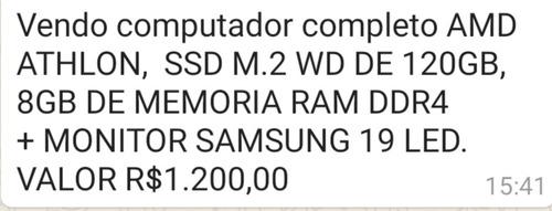 Computador Desktop Amd Athlon Ssd M.2 Wd De 120gb