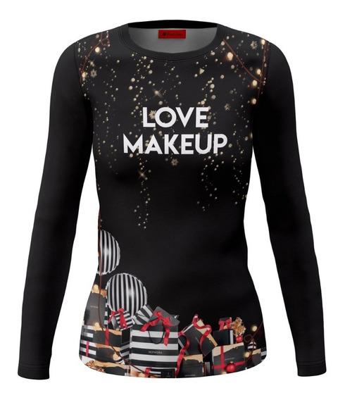 Playera Dama Dry Fit Full Print Love Makeup Navideño
