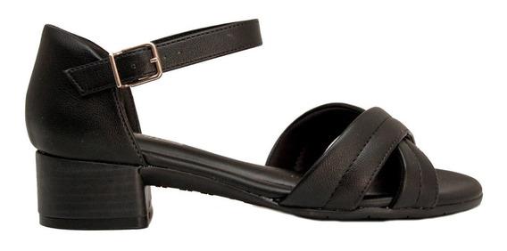 Sandalias Mujer Cuero Ecológico Negro Taco 4cm Con Talonera