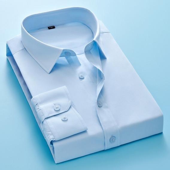 Camisa Formal De Botones Manga Larga Hombre