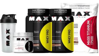 Kit Mass Titanium + 2x Whey Pro + Creatina 150g - Max Titani