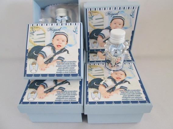 15 Lembrancinhas Caixas 8x8 Batizado Com Água Benta Terço