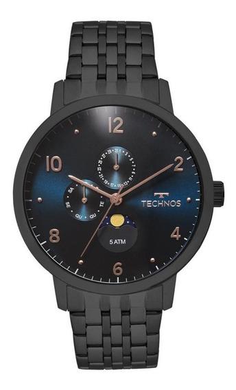 Relógio Technos Masculino 6p21aa/4p Calendário Lunar Preto