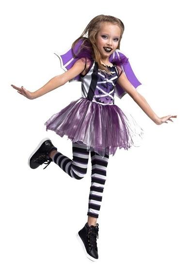 Roupa Halloween Infantil Menina Vampira Morcego Com Asas Envio Em 24 Horas