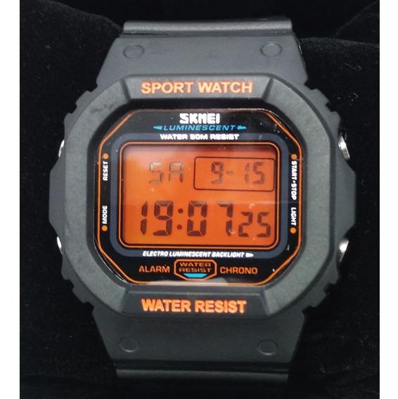 Relógio Skmei 1134 Resistente A Água 50m Laranja Original