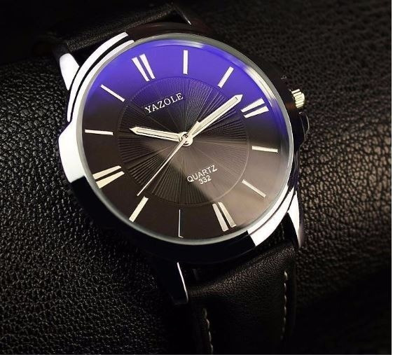 Relógio Yazole De Couro Preto Elegante Vintage Original