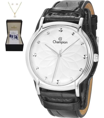 Kit Relógio Champion Feminino Prateado Couro Preto Cn20364c