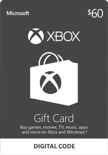 Xbox Live Gift Card Tarjeta De Regalo $60 Xbox One 360 Usa