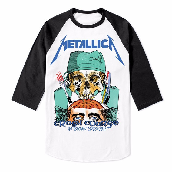 Playera Raglan Metallica Crash Course Manga 3/4 Iron Maiden