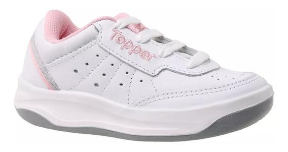 Zapatillas Topper Colegial X Forcer Niñas - Blanco Rosa