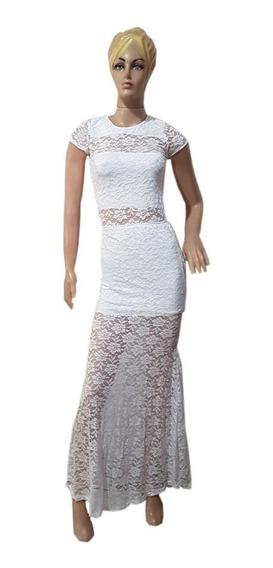 Vestido Largo Encaje Elastizado Con Mini Y Top Incorporado