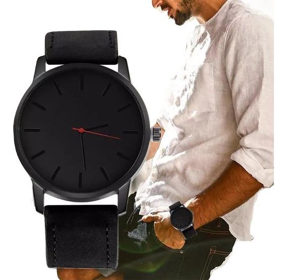 Reloj De Hombre Ajustable Nuevo Negro Liso Moderno
