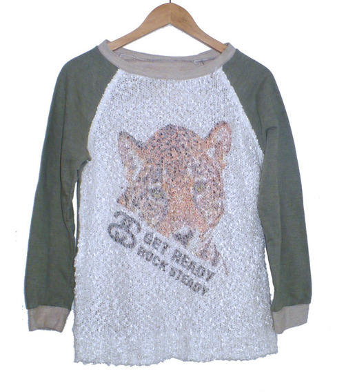 Buzo Sweater Friza Invisible Y Tejido Estampa