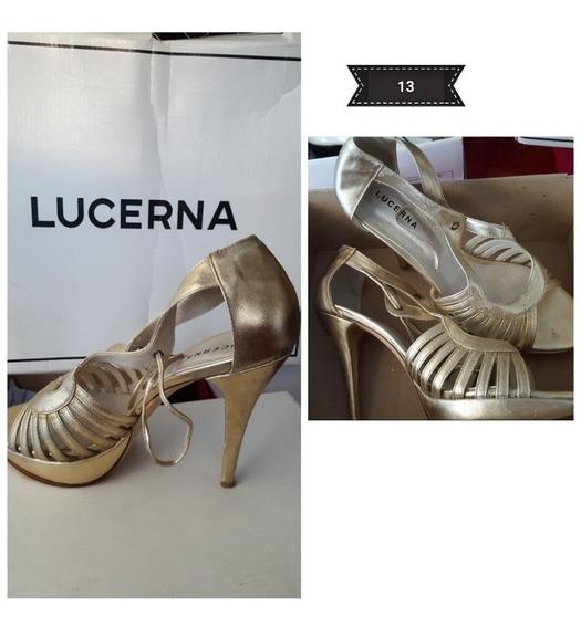 Zapato Stiletto Dorado Lucerna Usado