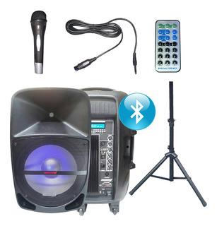 Caja Bafle Activo Usb Mp3 Bluetooth Con Pie Y Microfono