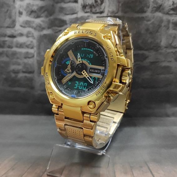 Relogio De Luxo Dourado Barato D+todo Em Aço Aprova D Água!!