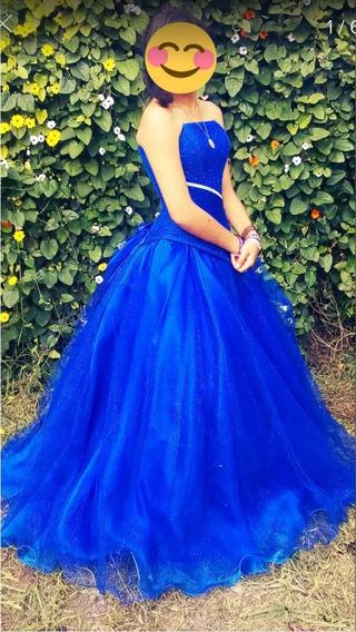 Vestido De Xv Años Azul Rey Con Tocado, Ramo De Luz Y Mas!!!