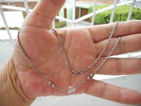 Gargantilha De Pura Prata 925 Com Pingente Cristal