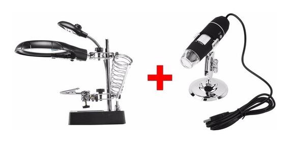 Kit Com Lupa De Bancada + Microscópio 1000x