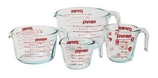 Juego De 4 Tazas De Vidrio Pyrex Medidoras Para Cocina