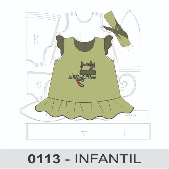 Molde Digital De Vestido Trapézio Com Tiara Infantil