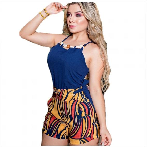Conjunto Feminino Short E Blusa Social Estampado Moda 2020
