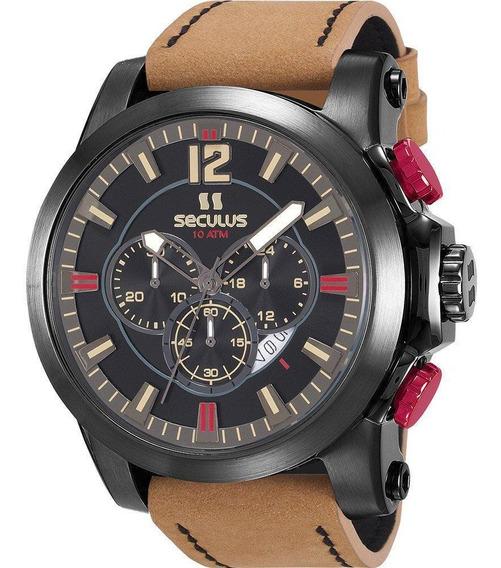 Relógio Seculus Masculino De Couro 13025gpsvsc3