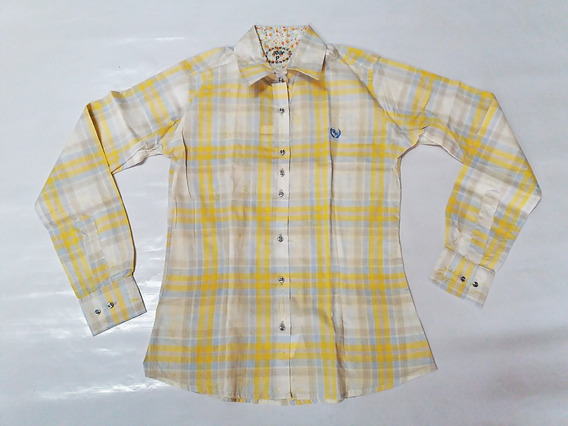 Camisete Feminina Rodeo Way Xadrez Amarelo Country Manga Lon