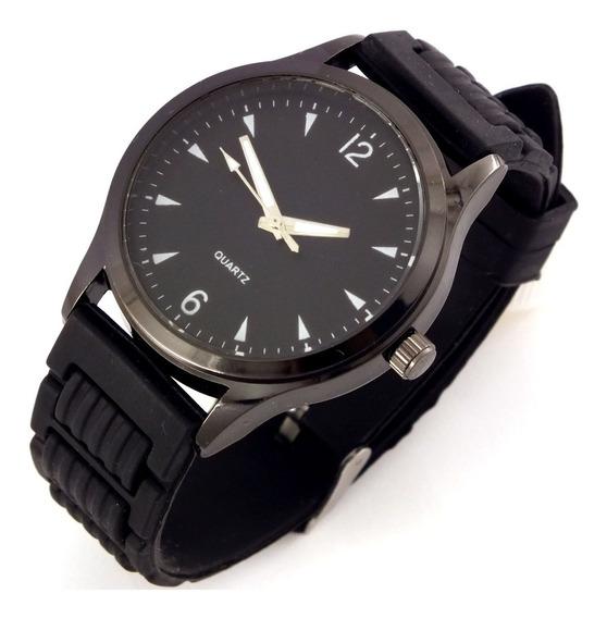 Relógio Masculino Quartz Pulseira Preta Em Borracha B5636
