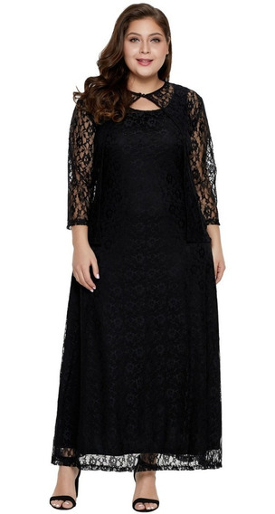 Vestido Largo De Coctel Negro Talla Extra Plus Encaje