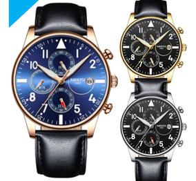 Relógio Original Nibosi Couro Funcional Top Lxbr 06 Modelos