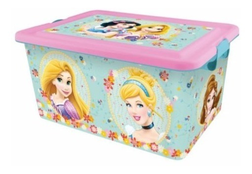 Caja Plastica Disney Princesas Original Grande Con Manijas