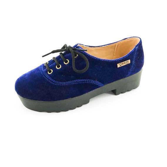 Tênis Tratorado Quality Shoes Feminino 005 Veludo Azul Marin