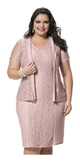Vestido Tubinho Plus Size Rose