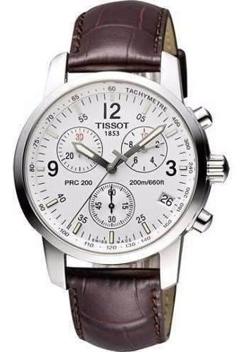 Relógio Tissot Prc 200 Branco Com Pulseira De Couro Marrom