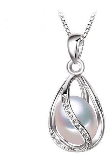 Collar Gota Con Perla Natural, Plata Y Zircon Envío Grat