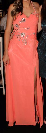 Vestido De Festa Coral Com Fenda E Bordado A Mão