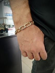 Pulseira Masculina Aço Com Banho De Ouro Grume 20cm