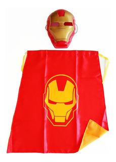Kit Infantil Personaje Capa + Máscara Ironman