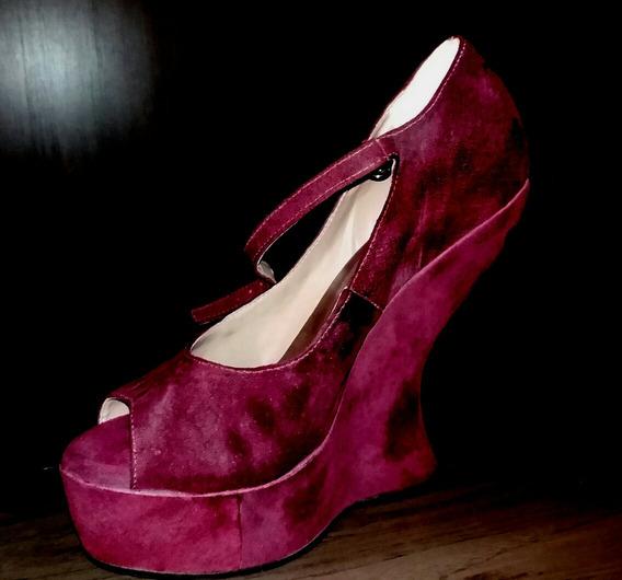 Sapato Salto Alto Anabela , 15 Cm,