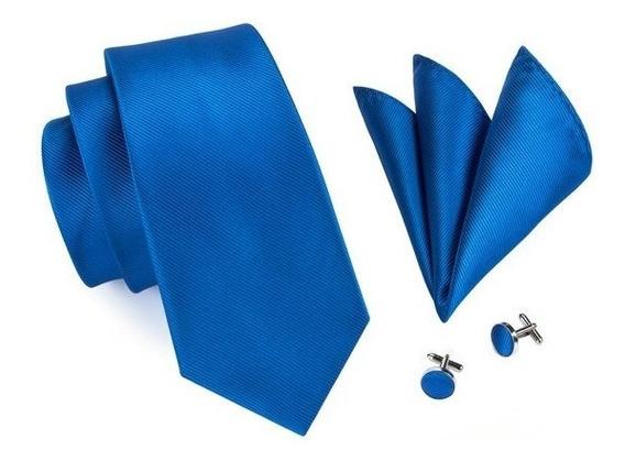 850 Corbata Seda Jacquard Pañuelo Mancuernillas - Azul Metal