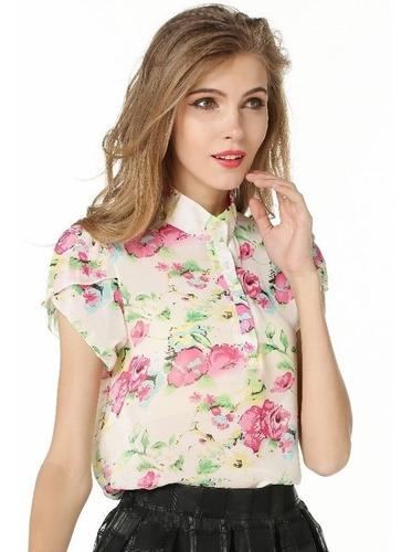 Blusa De Gasa Elegante Floral Nueva Importada En Stock