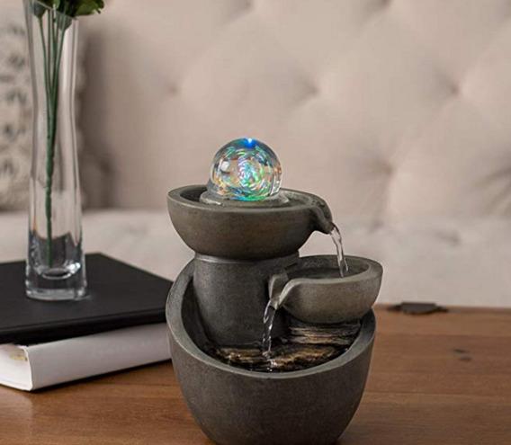 Fuente De Agua Cascada Decorativa Escritorio Esfera De Luz