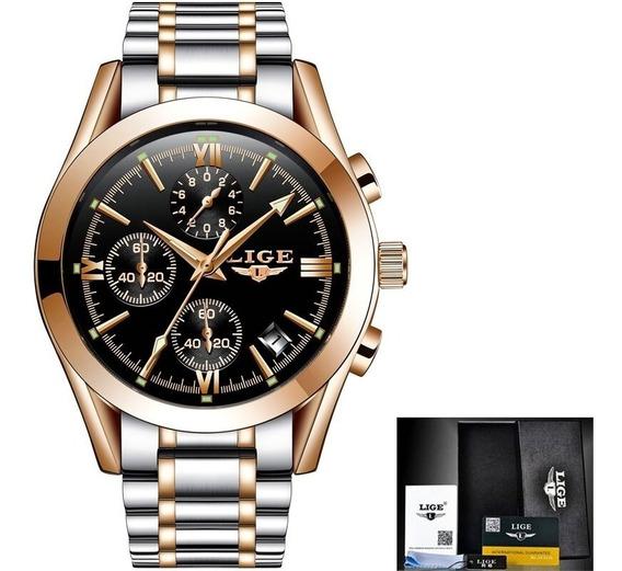 Relógio De Pulso Masculino Lige 9839 Aço Inox Prova D