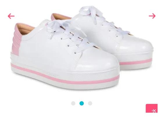 Tênis Lupita Flat Petite Jolie Rosa Com Detalhe Branco.