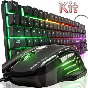 Kit Teclado Gamer Semi Mecânico + Mouse Neon 7 Botões Usb Pc